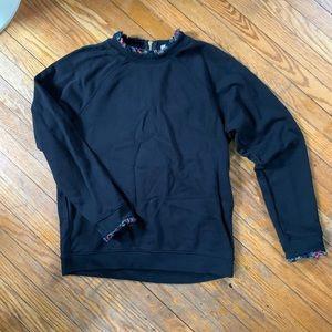 J.Crew Black Sweatshirt W/ Plaid Ruffle Trim
